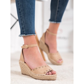 Evento Sandals with an openwork pattern brown 3
