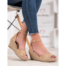 Evento Sandals with an openwork pattern brown 4