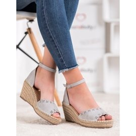 Evento Sandals with an openwork pattern grey 4