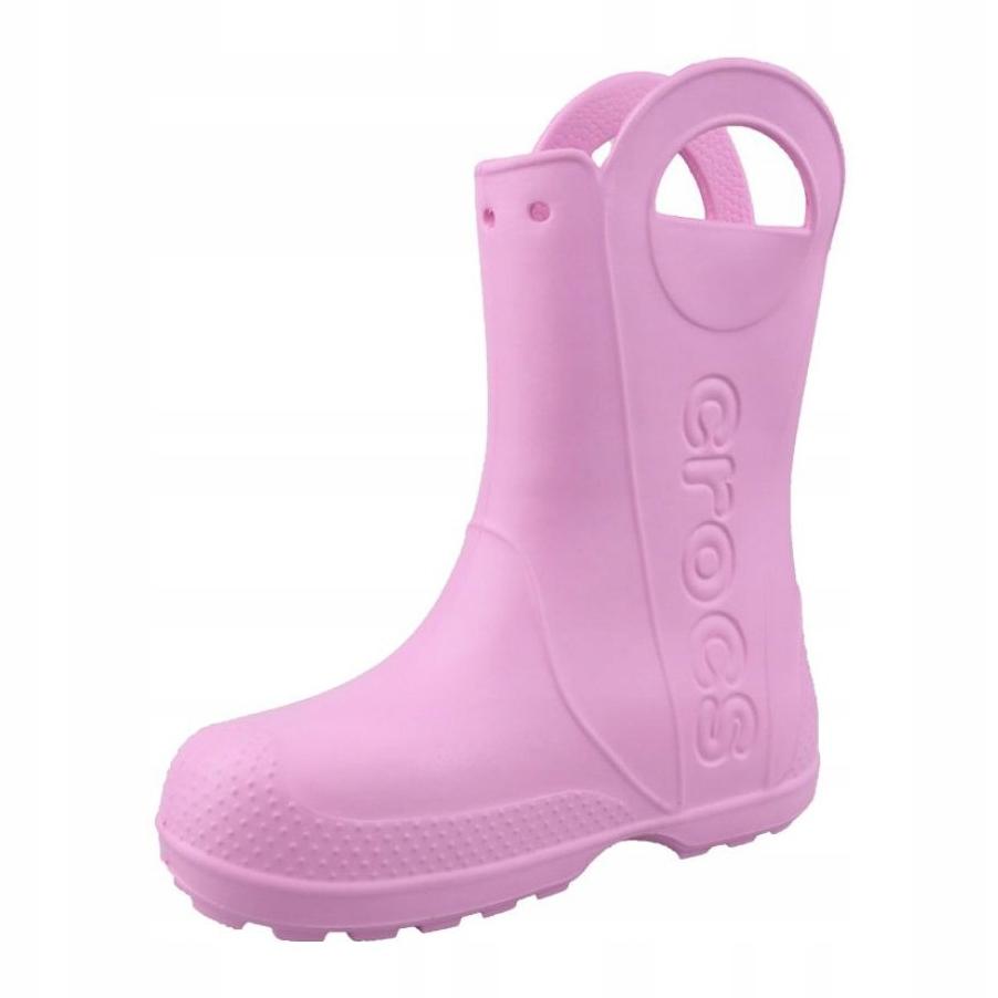 Crocs Kids Handle It Rain Boot Candy Pink Croslite Child Wellingtons Boots
