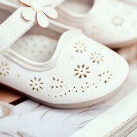 Apawwa Children's Flats Velcro Flower White Flored 4