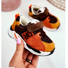 Apawwa Sport Children's Shoes with Velcro Brown Jonaba orange multicolored yellow 2