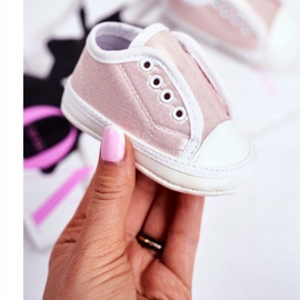 Apawwa Children's Sneakers Velcro With Brocade Baptism Pink Milley 1