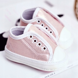 Apawwa Children's Sneakers Velcro With Brocade Baptism Pink Milley 2