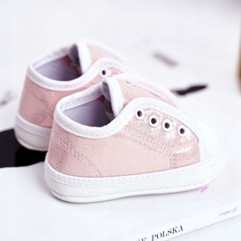 Apawwa Children's Sneakers Velcro With Brocade Baptism Pink Milley 4