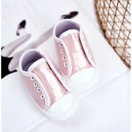 Apawwa Baby Velcro Sneakers With Glitter Baptism Pink Milley 3