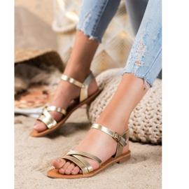 SHELOVET Flat-heeled sandals golden 3