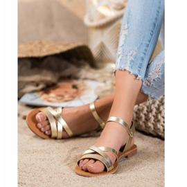 SHELOVET Flat-heeled sandals golden 1