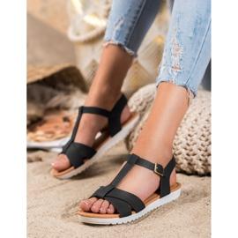 SHELOVET Black Textile Sandals 1