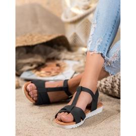 SHELOVET Black Textile Sandals 2