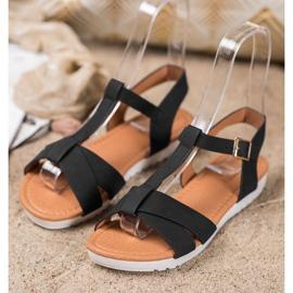 SHELOVET Black Textile Sandals 3