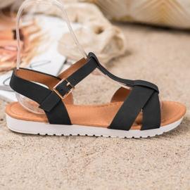 SHELOVET Black Textile Sandals 4