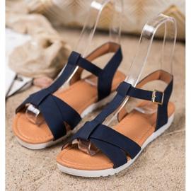 SHELOVET Dark Blue Textile Sandals 3