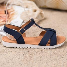 SHELOVET Dark Blue Textile Sandals 4