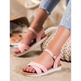 SHELOVET Comfortable textile sandals pink 1