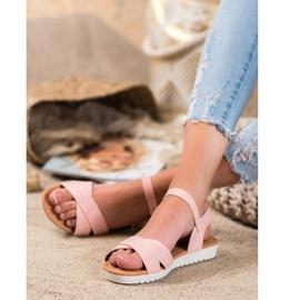 SHELOVET Comfortable textile sandals pink 2