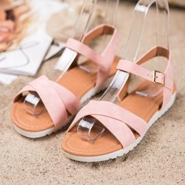 SHELOVET Comfortable textile sandals pink 3
