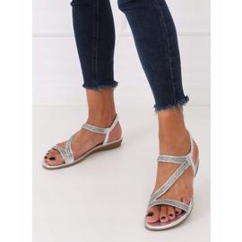 Silver asymmetrical sandals KM-33 Silver grey 4