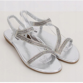 Silver asymmetrical sandals KM-33 Silver grey 1
