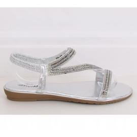 Silver asymmetrical sandals KM-33 Silver grey 2