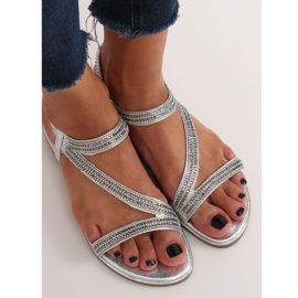 Silver asymmetrical sandals KM-33 Silver grey 3