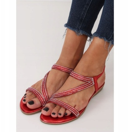 Asymmetrical red sandals KM-33 Red 2