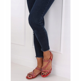 Asymmetrical red sandals KM-33 Red 3