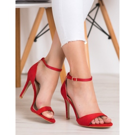 SHELOVET Classic Suede Heels red 3