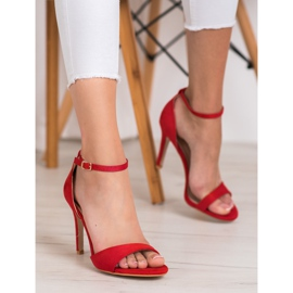 SHELOVET Classic Suede Heels red 2