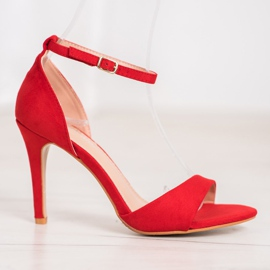 SHELOVET Classic Suede Heels red 4