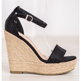 SHELOVET Wedge Sandals With Crystals black 2