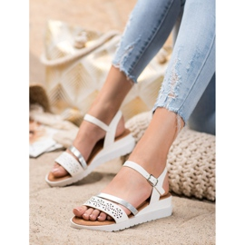 Renda Wedge Sandals With Eco Leather white 2