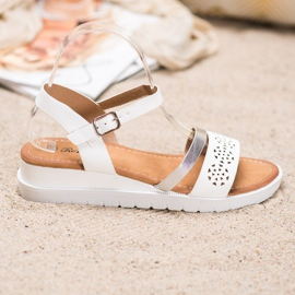 Renda Wedge Sandals With Eco Leather white 4