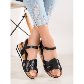 Comer Black Sandals With Eco Leather 2