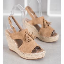 Small Swan Built-in Tassels Sandals brown 1