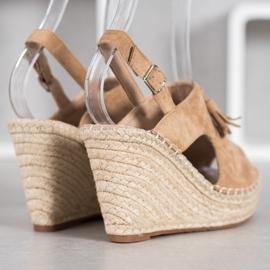 Small Swan Built-in Tassels Sandals brown 5