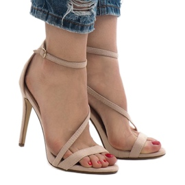 Beige sandals on a NF-12 suede heel 2