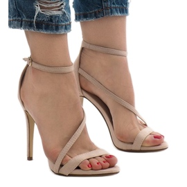 Beige sandals on a NF-12 suede heel 1
