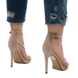 Beige sandals on a NF-12 suede heel 3
