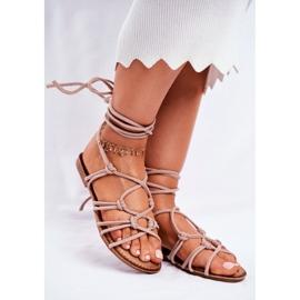 SEA Negros women's tied sandals beige 1