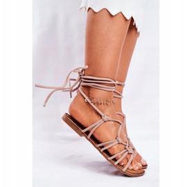 SEA Negros women's tied sandals beige 4