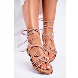 SEA Negros women's tied sandals beige 3