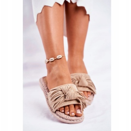 SEA Women's Slippers With Bow Beige Thailand brown 2