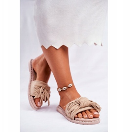 SEA Women's Slippers With Bow Beige Thailand brown 4