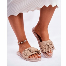 SEA Women's Slippers With Bow Beige Thailand brown 3