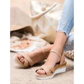 Small Swan Wedge Sandals With Glitter brown 3