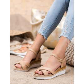 Small Swan Wedge Sandals With Glitter brown 2