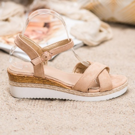 Small Swan Wedge Sandals With Glitter brown 1