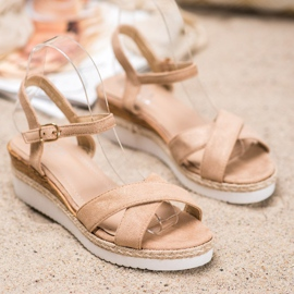 Small Swan Wedge Sandals With Glitter brown 4