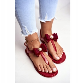LU BOO Red Women's Rubber Sandals Japanese Etta Bow 3